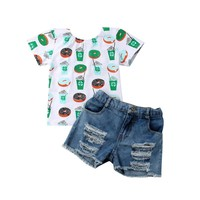 2 Piece Donut Print Tee + Denim Shorts