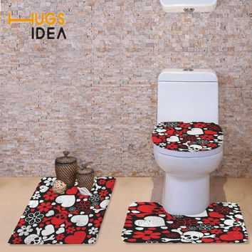HUGSIDEA 3 PCS Set Non-slip Toilet Seat Covers Vintage Skulls Printing Warmer Soft Bathroom Carpet Area Rugs Toilet Accessories