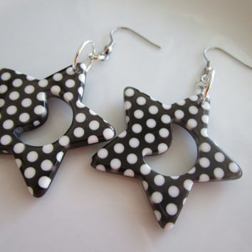 Star - moon polka dot earring - polka dot dangle - white polka dot earring - star earring - star dangle - nickel free earring - steel hook