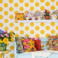 Dots Yellow Wallpaper - contemporary - wallpaper - by Wallpaperking