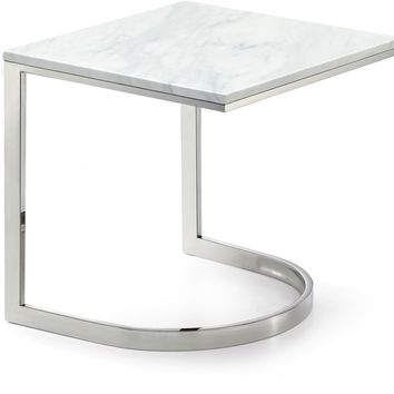 Copley Chrome End Table Genuine Marble Top