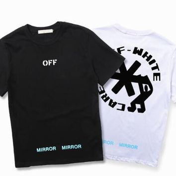 Off White T shirt Men Women USA Size The snowflake letters Off White Abloh Virgil T-shirts Top Tees Off White T shirt kanye west