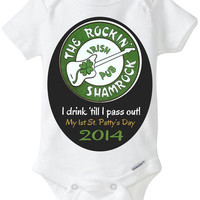 "Funny Baby Gift: Embellished Gerber Onesuit brand body suit – ""The Rockin' Shamrock Irish Pub"" Baby's 1st St. Patrick's Day"