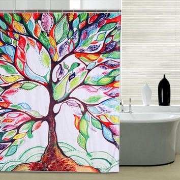 Modern Shower Curtain Waterproof Mildewproof Polyester Fabric Bath Curtain Bathroom Product Colorful Tree Shower Curtain