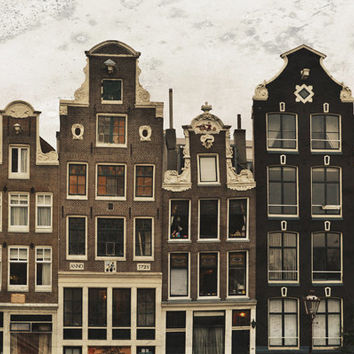 Amsterdam Photography, Architecture Art, House Print, Urban Art, Europe Travel, Brown, Earth Tones
