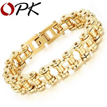 OPK Sporty Bicycle Motorcycle Man Bracelets Casual Silver /Gold Color Stainless Steel Men's Link Chain Bracelet Jewelry GS781