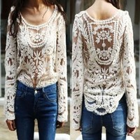 global shopping@2013 New Semi Sexy Sheer Sleeve Embroidery Floral Lace Crochet Tee Top T shirt Vintage White Color:Amazon:Arts, Crafts & Sewing