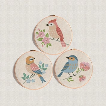 Bird cross stitch pattern baby shower pdf, Modern  pattern, Animals cross stitch with flowers Counted cross stitch chart  set patterns