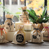 Fresh RAIN - Clear Glass Candle in Draw String Bag with Wood Charm