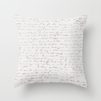 Vintage Writing Throw Pillow by Christina DeConcini