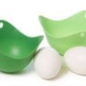 Silicone Egg Poacher Cups 2 Pieces- Green or Blue-Poaching Made Easy!!!