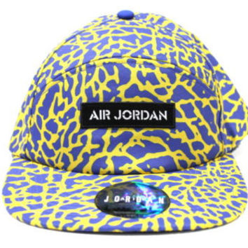 New Jordan Men's Retro 5 Panel Laney Yellow/Blue Strap-Back Hat One Size