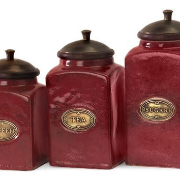 "3 Kitchen Canisters - Small Is 6.75 "" H X 3.5 "" W"