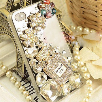 No.5 Perfume Bottle rhinestones crystals Phone Case Cover For iPhone 4G/4S / iPhone5 case