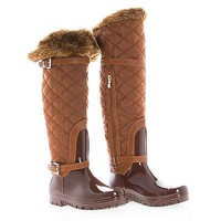Carrie66 By Forever, Knee High Quilted Nylon Shaft Faux Fur Lined Rain Boots