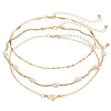 Mudd® Beaded, Bar Link & Triangle Choker Necklace Set | null