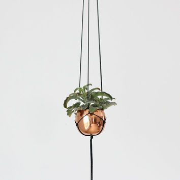 Small Vintage Copper Cup Hanging Planter / Modern Macrame Planter / Plant Hanger / Minimalist Home Decor