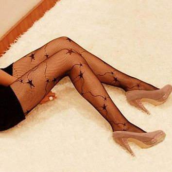 Sexy Women Fashion Gothic Punk Lace Tights Black Fishnet Long Stocking Nylon Net Pantyhose Tights