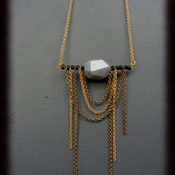 Edgy chain Fringe Necklace // Gold and Antique brass chain // Stone gemstone jewelry // Unique Edgy Witchy and contemporary Jewelry