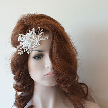 Ivory Bridal Lace Headband,  Rhinestone and Pearl Headpiece, Lace Bridal Headband, Bridal Hair Accessory, Wedding Hair Accessories