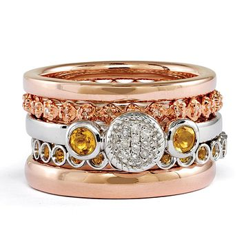 14K Rose Gold Plated Silver, Citrine & Diamond Stackable Ring Set