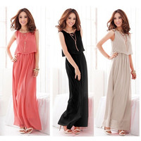 Women summer candy color long dress Chiffon Boho Maxi Dress S-XXL = 1958686852