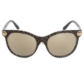 Bvlgari Cat Eye Sunglasses BV8185B 54215A 55 | Black Acetate Frame | Gold Mirror Lenses