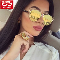 TRIUMPH VISION UV400 Mirror Sun Glasses Women Driving Fashion Designer Brand Female Sunglasses Eyewear Women Pilot 2016 Shades