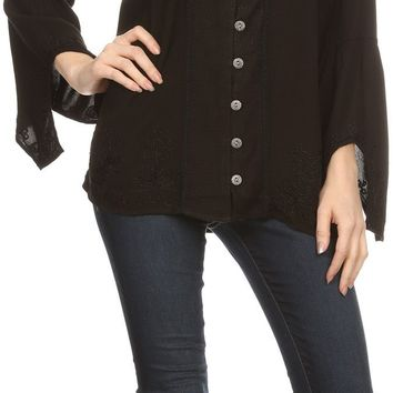 Sakkas Savannah Scoop Neck Button Down Embroiderd Long Sleeve Blouse Top/Shirt