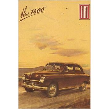 50's vintage car ad poster FIAT 1400 STYLISH CLEAN LINES collectors 24X36