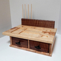 Fly Tying Board, Fly Tying Table, Fly Tying  Station with Two Drawers, Handcrafted of Hickory, Black Walnut and Maple