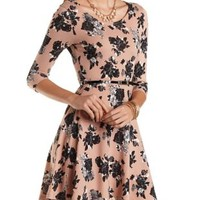 Belted Floral Sweater Knit Skater Dress by Charlotte Russe - Pink