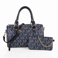MK Michael Kors MK Women Leather Shoulder Bag Satchel Tote Handbag Crossbody Set Two P