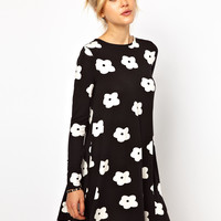 ASOS Swing Dress In Monochrome Flower Print