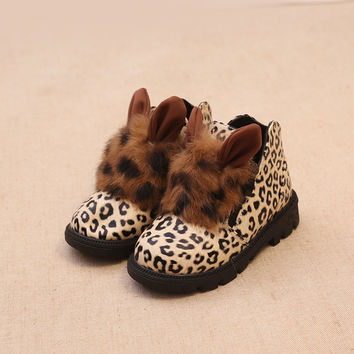Winter Shoes Low-cut Children Cotton Leopard Boots [4919278724]