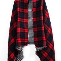 Red Plaid Fringe Both Sides Scarve -SheIn(Sheinside)