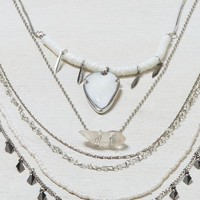 AEO Women's Crystal & Stone Tiered Necklace (Silver)