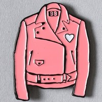 LEATHER JACKET ENAMEL PIN - PINK