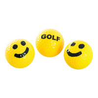 SMILEY FACE GOLF BALLS YELLOW/BLACK