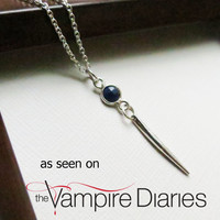 The Vampire Diaries Jewelry   Jo's Sterling Silver Sapphire Dagger Pendant Necklace