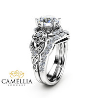 Moissanite Engagement Ring Set 14K White Gold Moissanite Ring Floral Engagement Ring with Matching Diamond Band
