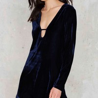 Glamorous Velvet Goldmine Bell Sleeve Dress - Navy