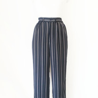 Japanese Vintage Pants / Black X White Striped Pants / Wide Legs Pants / Casual Pants / Black Suit Pants / Japan Summer Pants / Size XS S