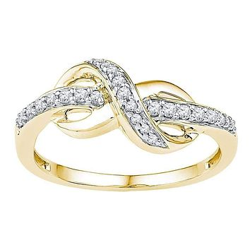 10kt Yellow Gold Women's Round Diamond Infinity Ring 1/5 Cttw - FREE Shipping (US/CAN)