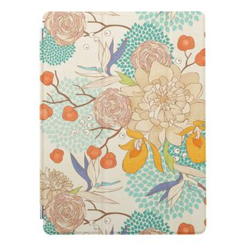 Modern Rose Peony Flower Pattern iPad Pro Cover
