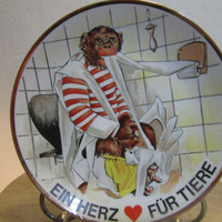 Ein HERZ FUR TIERE, A Heart For Animals, Plate Wall Hanging, Chimpanzee,