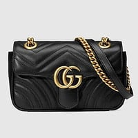 Gucci Women Leather Multicolor Sequin Satchel Crossbody Shoulder Bag