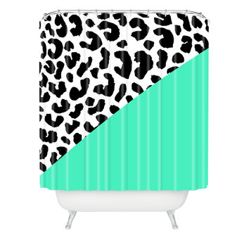 Rebecca Allen Leopard And Mint Shower Curtain