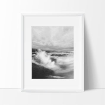 Stormy Ocean Photography Wall Art, Contemporary Decor Ideas