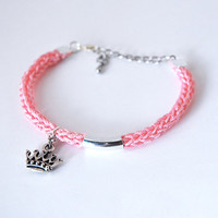 Pink bracelet with crown charm, princess bracelet with silver plated crown charm and tube, knit bracelet